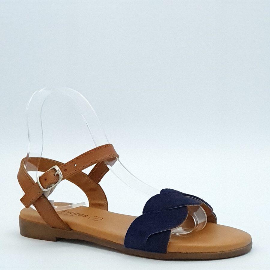 Sandales plates Eva Frutos marine profil