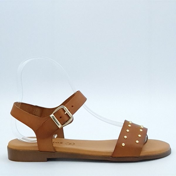 Sandales plates Eva Frutos profil camel